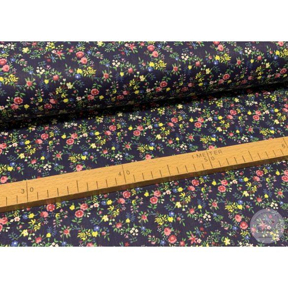 Sötétkék a. rózsaszín-kék-sárga kisvirágos pamutvászon (ME3911)
