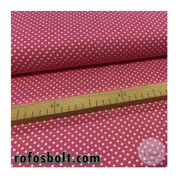 Pink alapon fehér kis pöttyös (2mm-es pötty) pamutvászon (ME3912)