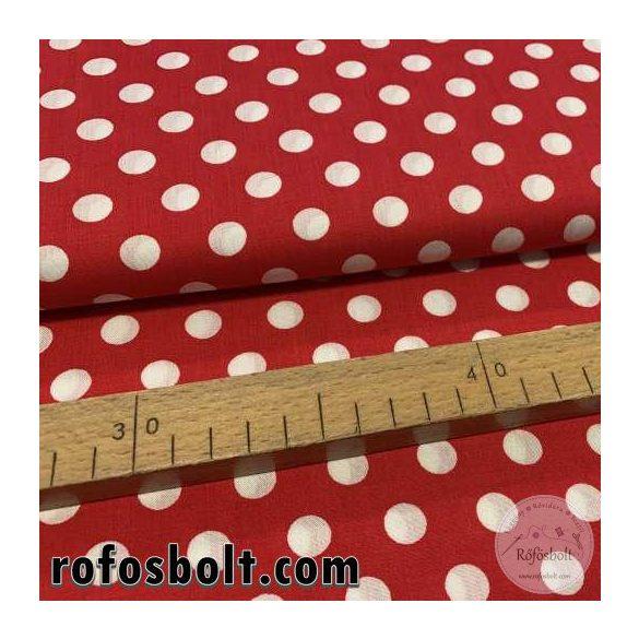 Piros alapon fehér 1 cm-es pöttyös flokon (viszkóz voile) (ME3914)