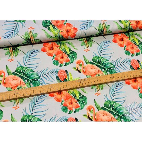 Designer prémium pamutvászon: Halvány szürke alapon flamingós (ME3918)