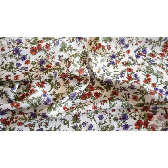 Fehér alapon lila-barnás virágos flokon (viszkóz voile) (ME3920)