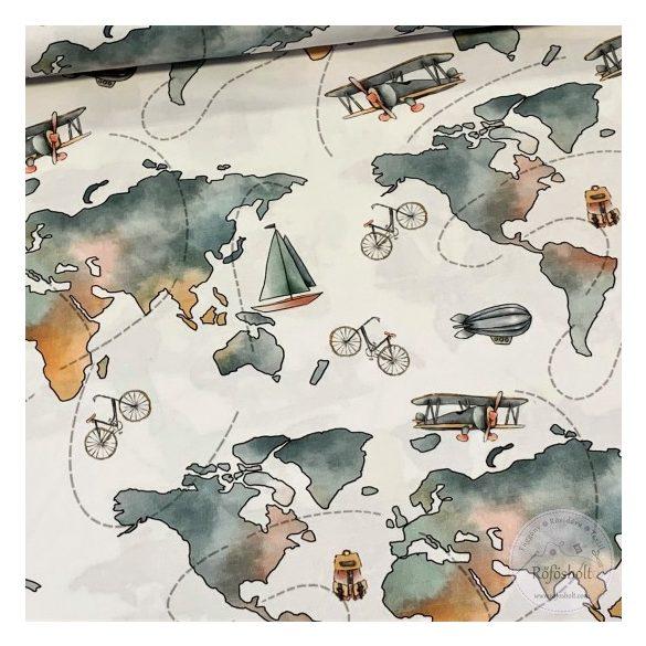 Designer prémium pamutvászon: Kékes Hőlégballonnal a világ körül (ME3948)
