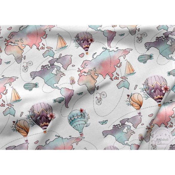 Designer prémium pamutvászon: Rózsaszínes Hőlégballonnal a világ körül (ME3949)