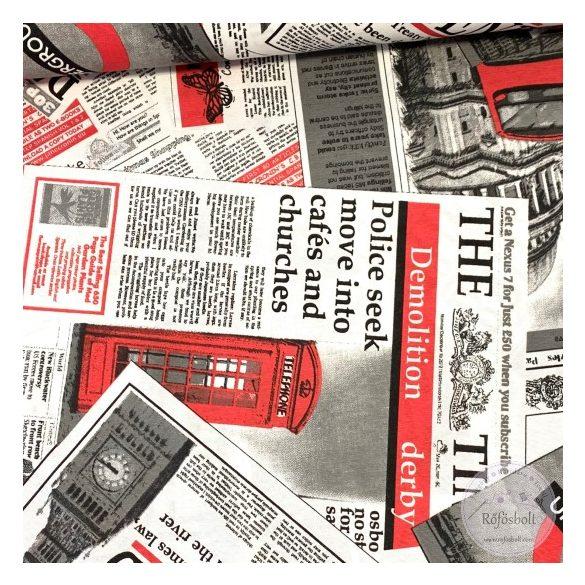 Piros-fekete-fehér London News dekortextil (ME3955)