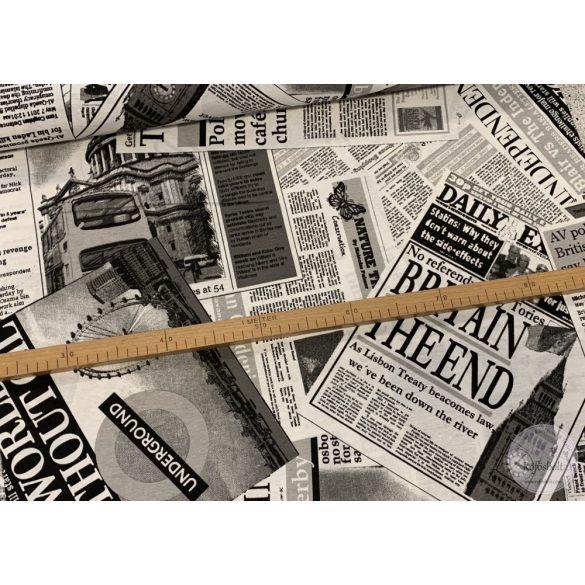 Fekete-fehér London News dekortextil (ME3969)