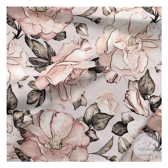 Designer prémium pamutvászon: Szürkés alapon őszies rózsás (ME3971)
