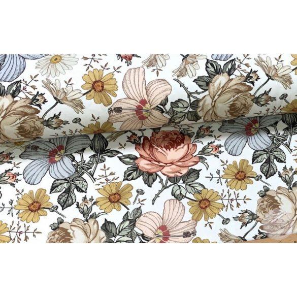 Designer prémium pamutvászon: Világos alapon retró rózsás (ME3972)