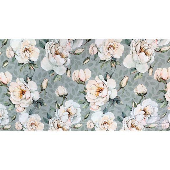 Designer prémium pamutvászon: Zöldes alapon fehér rózsás (ME3975)
