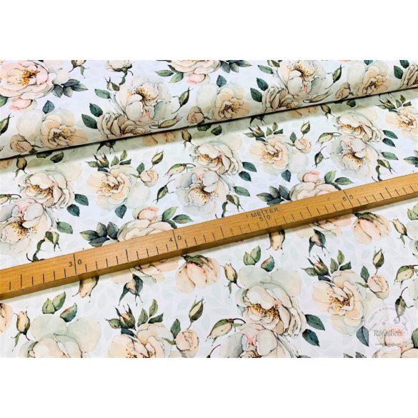 Designer prémium pamutvászon: Fehér alapon fehér rózsás (ME3976)