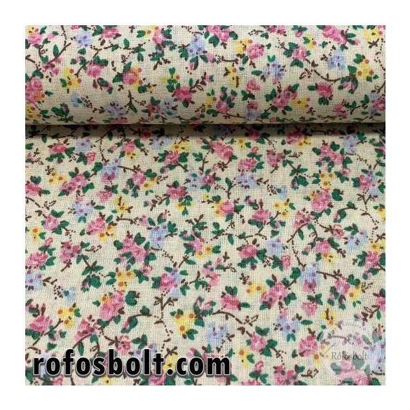 Halványsárga alapon rózsaszín-sárga-kék kisvirágos pamutvászon (FTME3991)