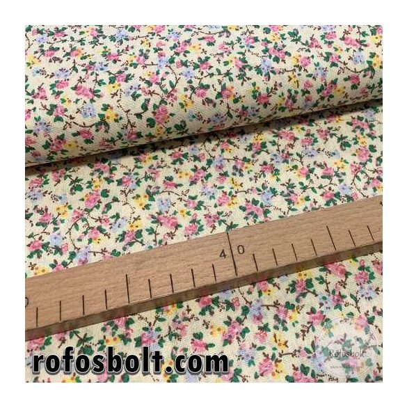 EGYBEN KÉRHETŐ 1 m Halványsárga alapon rózsaszín-sárga-kék kisvirágos pamutvászon (ME3991)