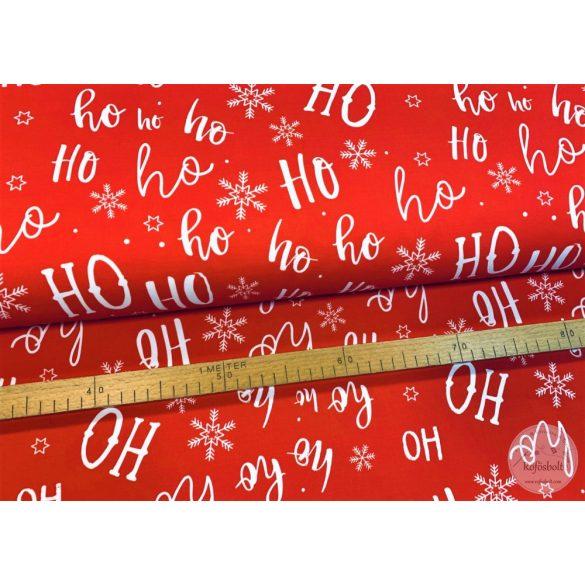 Designer prémium pamutvászon: Piros alapon fehér Ho-ho hópehely  (ME4059)