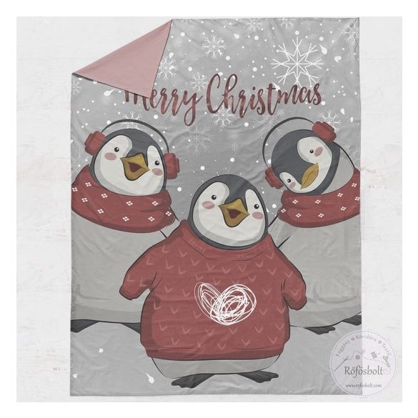 Premium designer: Merry Christmas pingvines takaró panel 100*135 cm-es (ME4065)