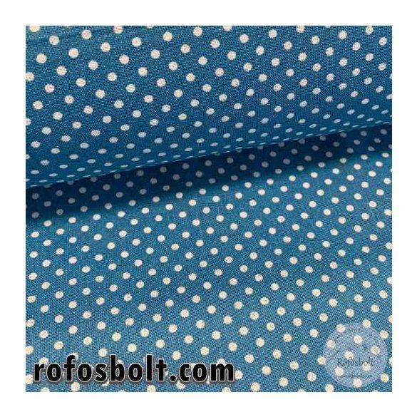 Mozaik kék alapon 2 mm-es kispöttyös pamutvászon (ME4073)