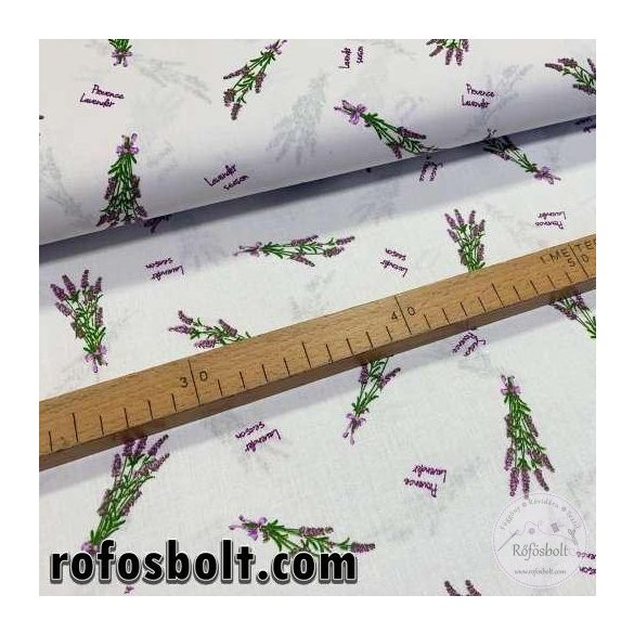 Fehér alapon lavender season No.3 pamutvászon (ME4077)