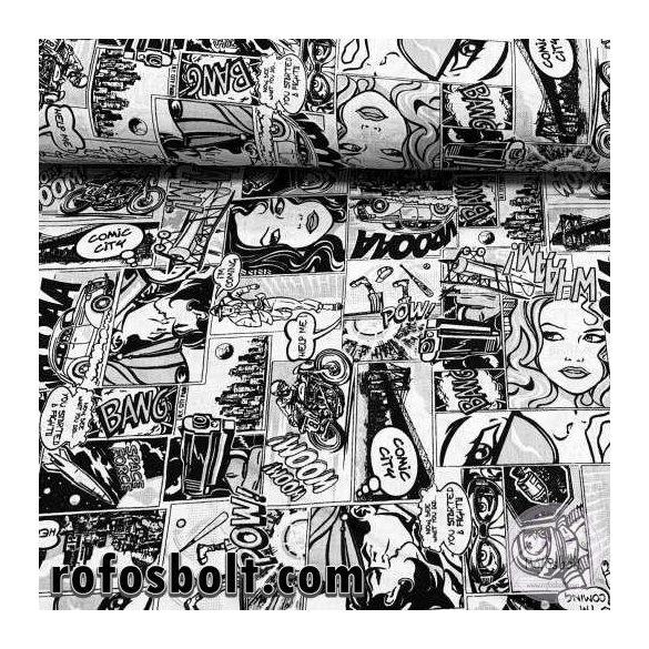 Fekete-fehér Comic City (képregényes) pamutvászon (ME4086)