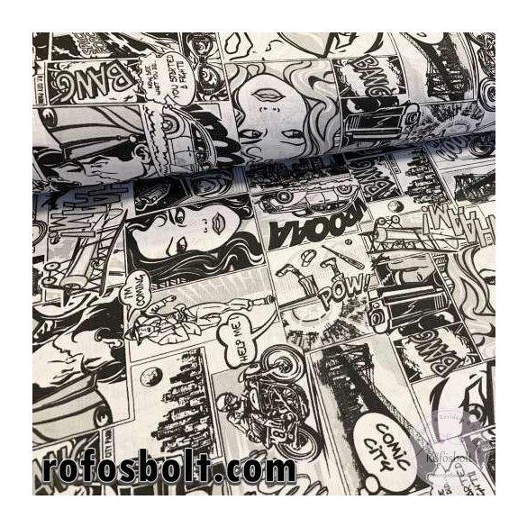1 m EGYBEN KÉRHETŐ Fekete-fehér Comic City (képregényes) pamutvászon (ME4086)