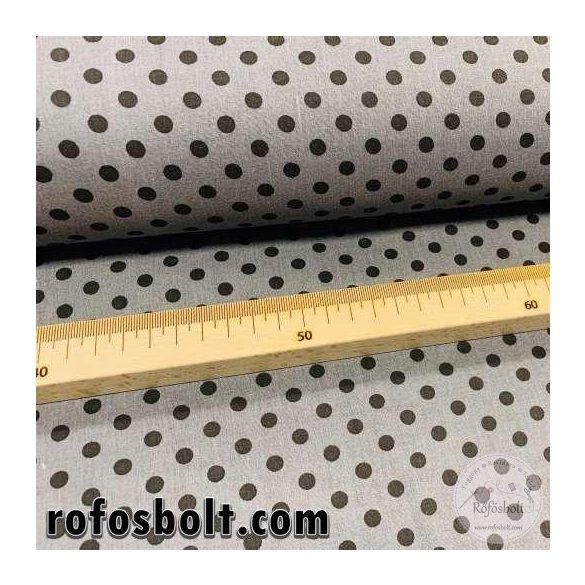 Szürke alapon fekete borsó (6 mm) pöttyös pamutvászon (ME4104)