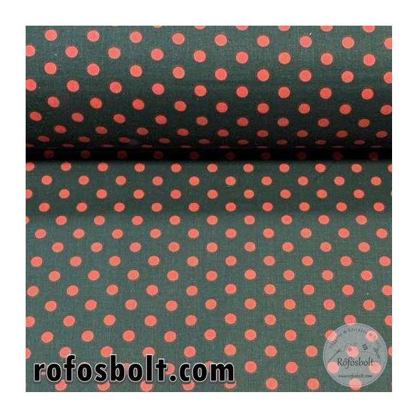 Fekete alapon piros borsó (6 mm) pöttyös pamutvászon (ME4105)
