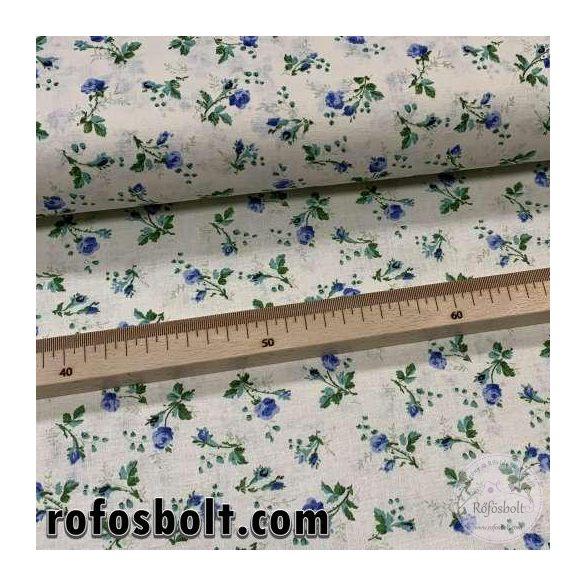 Ekrü alapon kék virágok zöld szárral 160 cm sz. pamutvászon (ME4106)