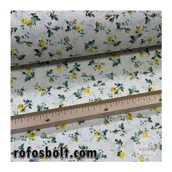 Ekrü alapon sárga virágok zöld szárral 160 cm sz. pamutvászon (ME4108)