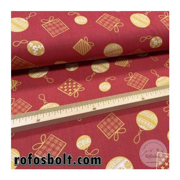 Piros alapon sárga gömbdíszes-ajándékos pamutvászon (ME4118)