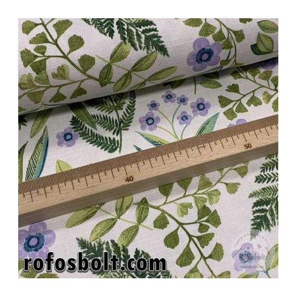 Páfrányos-lila virágos dekortextil (ME4121)