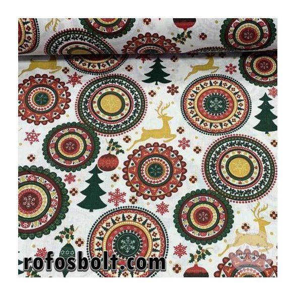 Fehér alapon karácsonyi mandalás pamutvászon (ME4126)