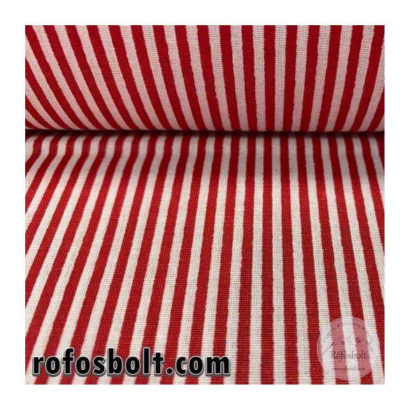 Piros-fehér 1mm-es csíkos pamutvászon (ME4153)