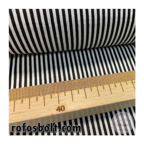 Fekete-fehér 2mm-es csíkos pamutvászon (ME4155)