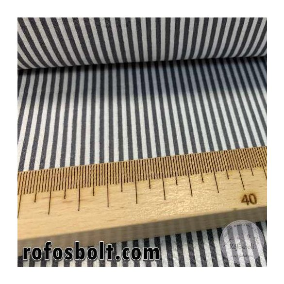 Szürke-fehér 2mm-es csíkos pamutvászon (ME4157)