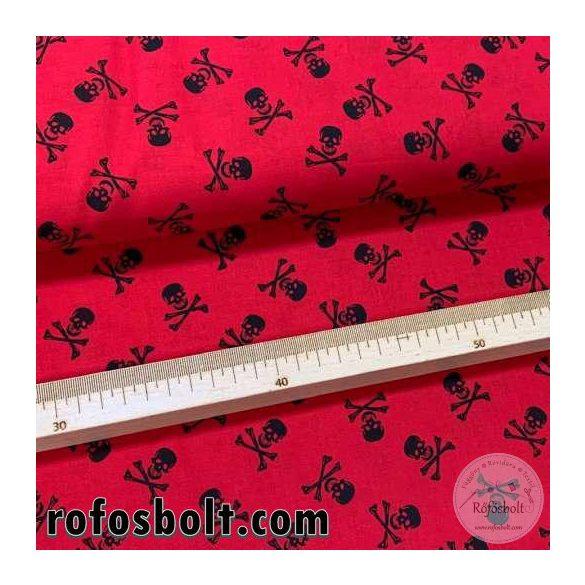 Piros alapon koponyás extra finom pamutvászon (ME4165)