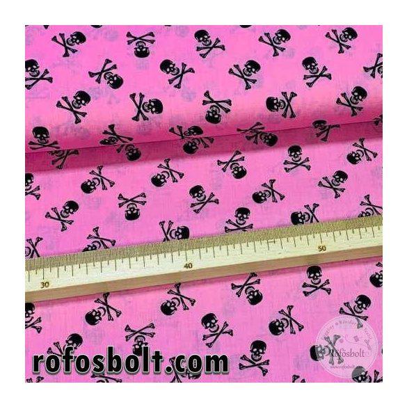 Rózsaszín alapon koponyás extra finom pamutvászon (ME4166)