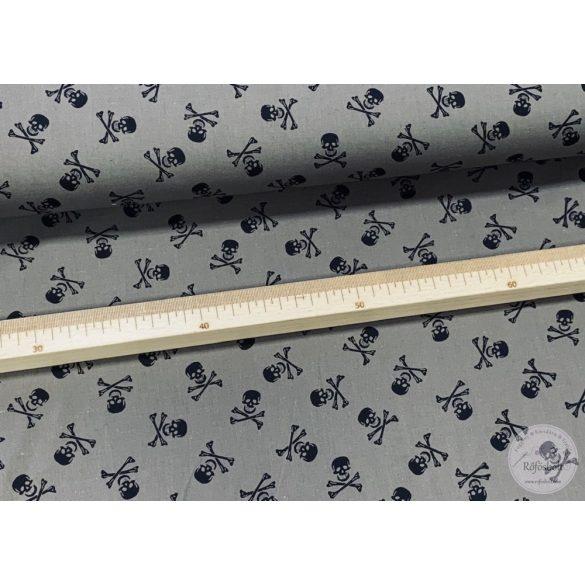 Szürkés-barnás alapon koponyás extra finom pamutvászon (ME4169)