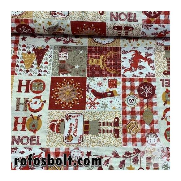 EGYBEN KÉRHETŐ 1,2 m Hohoho Noel! Karácsonyi mintás dekortextil (ME4176)(ell:03,30Gy)