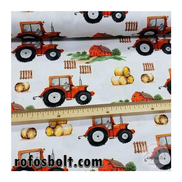Designer prémium pamutvászon: Piros traktor a farmon (ME4191)
