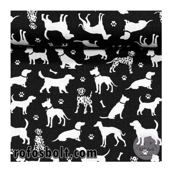 Fekete alapon fehér kutya sziluettes 160 cm sz. pamutvászon (ME4194)