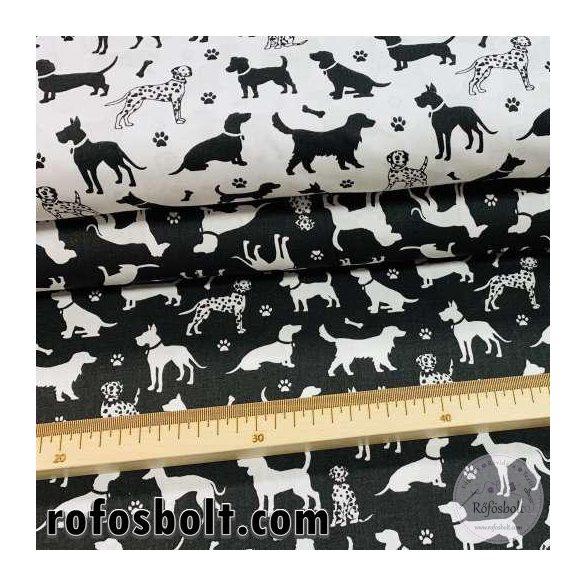 FEHÉR alapon fekete kutya sziluettes 160 cm sz. pamutvászon (ME4195)