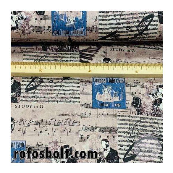 Mályvás 1920's kottás pamutvászon (ME4197)