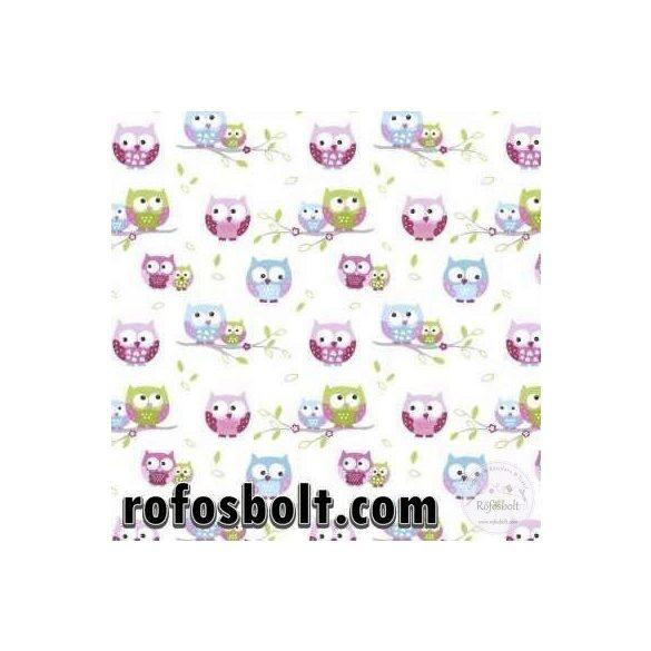 Fehér a. rózsaszín-kék baglyos pamutvászon (ME4198)