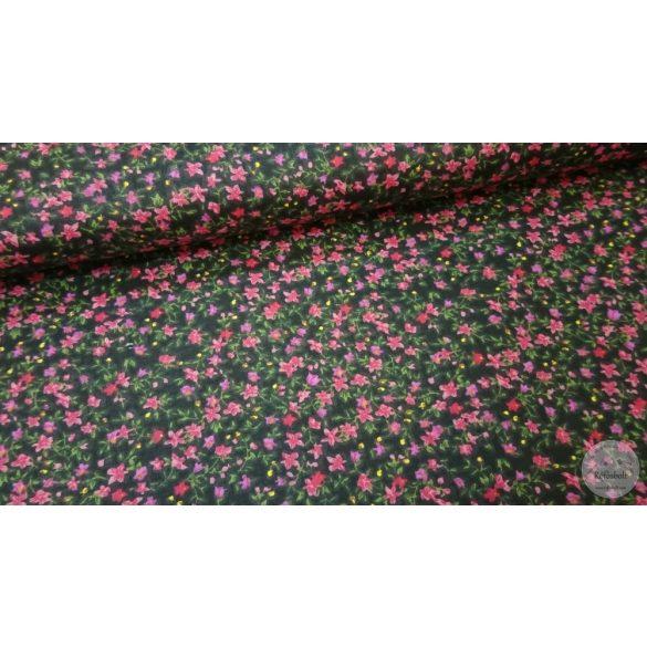 Fekete a. rózsaszín virágos pamutvászon (ME4201)