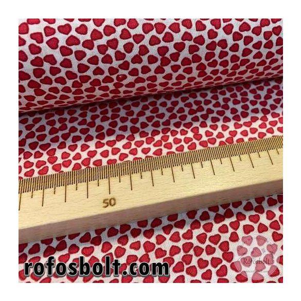 Fehér a. kis piros szívecskés pamutvászon (ME4206)