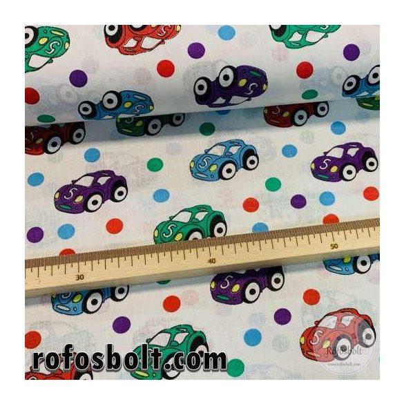 Fehér a. kék-zöld-piros-lila autós pamutvászon (ME4209)