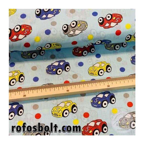 Kék a. kék-piros-sárga autós pamutvászon (ME4210)