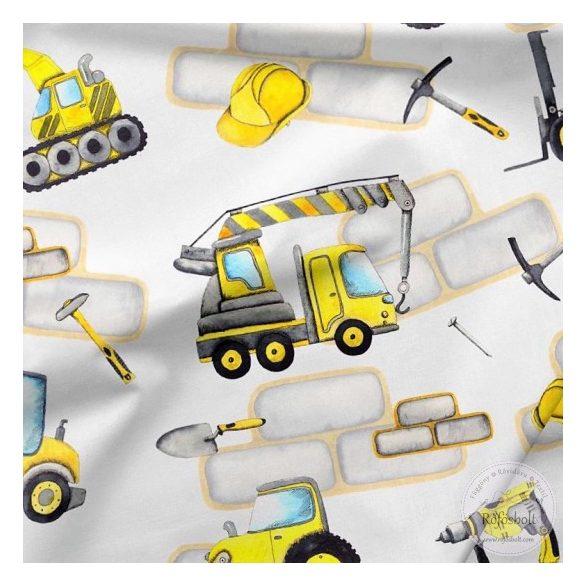 Designer prémium pamutvászon: Fehér a. sárga munkagépes (ME4232)