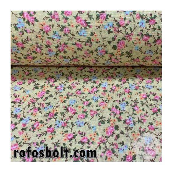 Napsárga a. rózsaszín-kék kisrózsás pamutvászon (FTME4246)