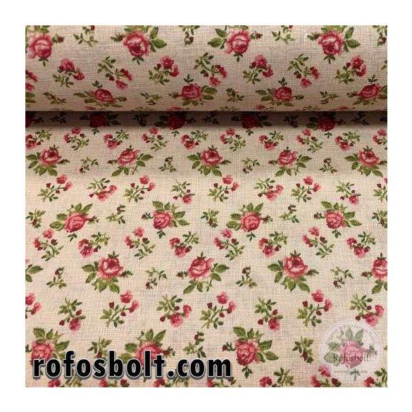 Drapp zsákos alapon rózsaszín rózsás pamutvászon (SKME4256)