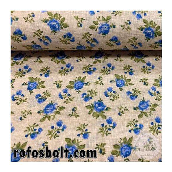 Drapp zsákos alapon kék rózsás pamutvászon (SKME4257)