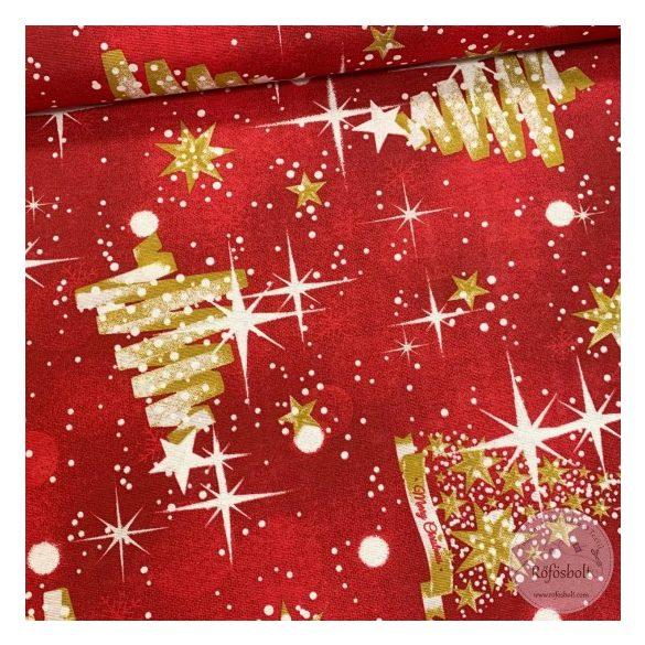 0,77+0,67m EGYBEN KÉRHETŐ Piros alapon arany karácsonyfás-csillagos karácsonyi dekortextil (ME4260)