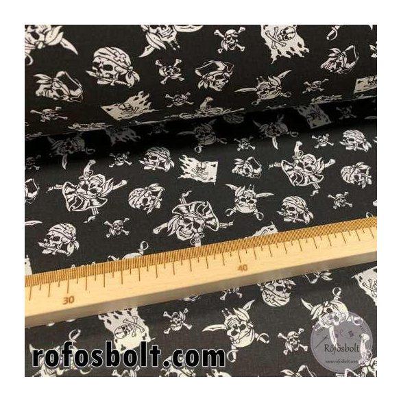Fekete alapon fehér kalóz koponyás-zászlós 160 cm sz. pamutvászon (GLME4268)